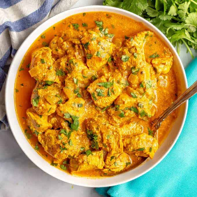 Easy healthy butter chicken with Indian spices and a flavorful tomato sauce