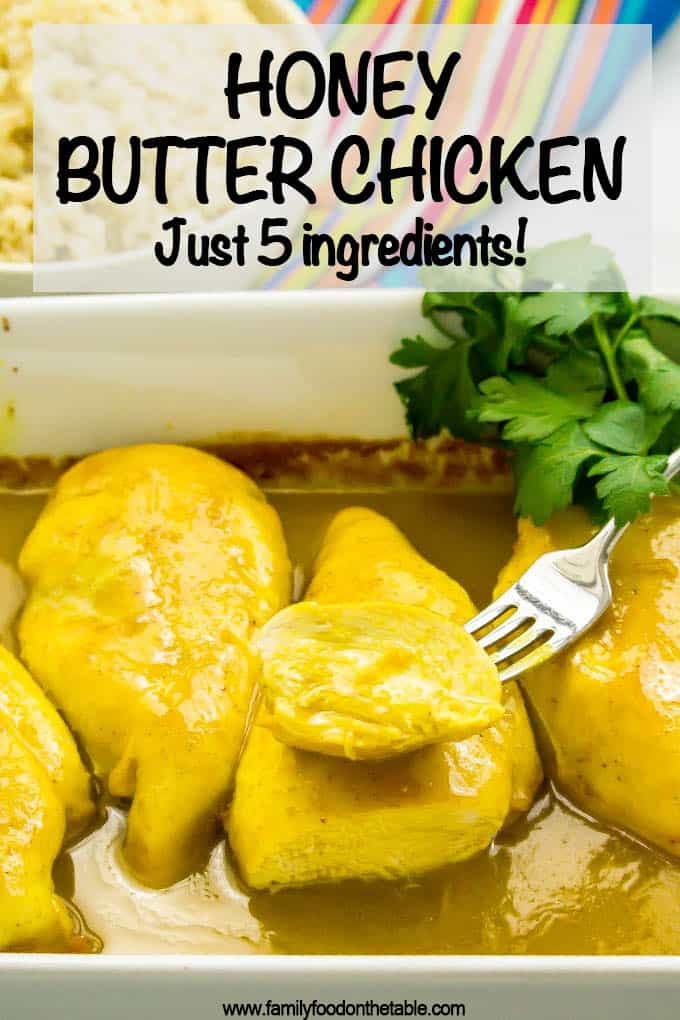 Honey butter chicken is an easy, hands-off and family-friendly recipe that's perfect for a weeknight dinner! Just a few simple ingredients but so much flavor! #easychickenrecipes #easychickendinner #chickendinner