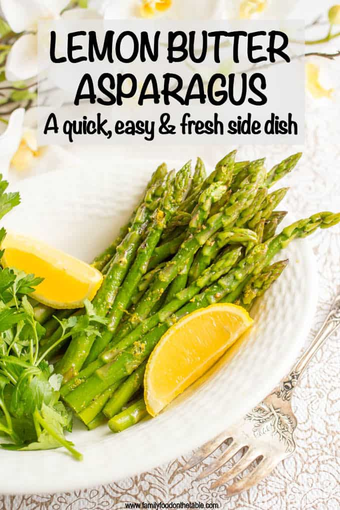 Steamed lemon butter asparagus is a light, fresh and easy spring dinner side dish that's all made in one pot and ready in just 15 minutes! #asparagus #spring #sidedishes
