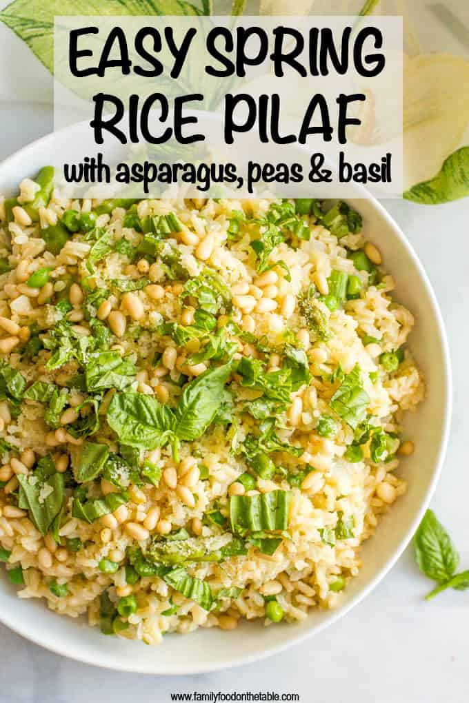 One-pot spring rice pilaf with asparagus and peas is a bright, fresh and easy side dish that's topped with Parmesan cheese, fresh basil and (optional) pine nuts! #springrecipes #ricepilaf #brownrice #asparagus #sidedishes