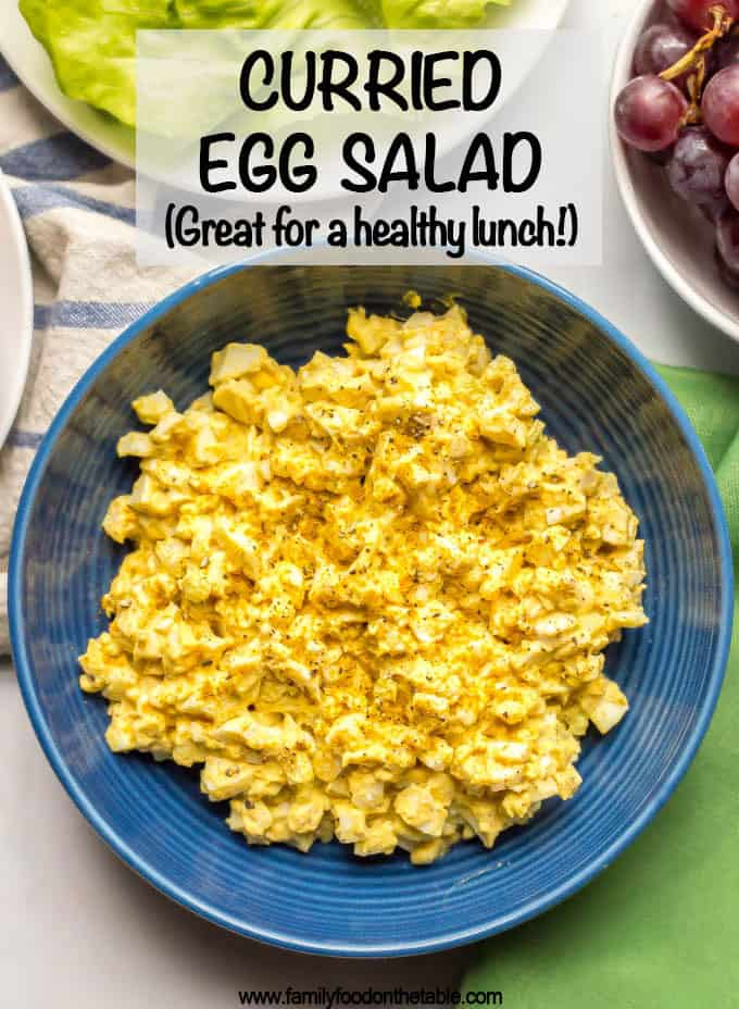 Curried egg salad is an easy, creamy, delicious lunch that's perfect for sandwiches, wraps or lettuce wraps or with crackers and veggies. It's just 5 ingredients and ready in about 30 minutes. #eggsalad #easylunch #vegetarianlunch