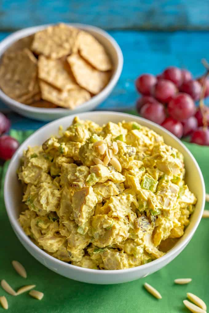 Healthy curry chicken salad is perfectly creamy with just the right level of spice and sweetness. Serve as a sandwich, wrap, salad or with crackers for a delicious, healthy lunch! #chickensalad #curry #healthylunch #chickenrecipes #mealprep