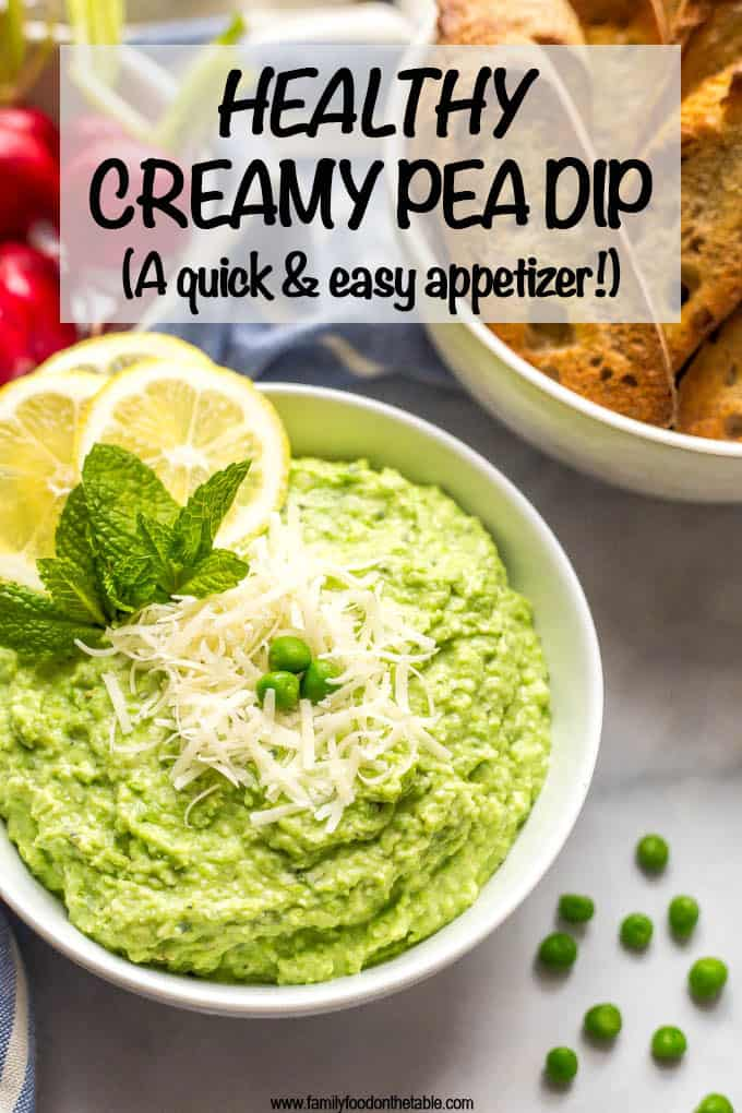 This healthy pea dip is a quick and easy recipe that makes for a pretty appetizer at parties. This creamy dip features ricotta and Parmesan cheese and goes great with baguette slices, water crackers or fresh veggies. #healthyappetizer #veggieappetizer #greenfood #peas