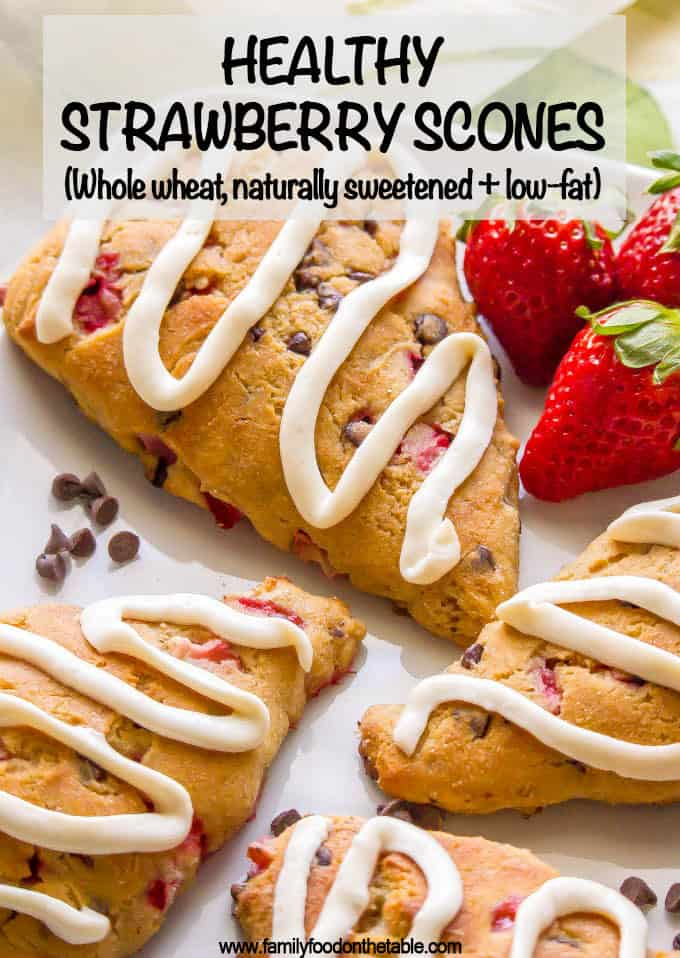 These healthy strawberry scones are whole wheat, naturally sweetened, low in fat and perfect for breakfast or brunch! You can add in some optional mini chocolate chips and/or serve with any of my glaze topping ideas for an extra special treat! #strawberryrecipes #scones #brunchrecipes