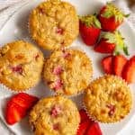 Healthy strawberry banana muffins