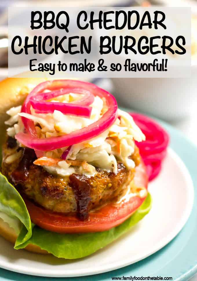 These BBQ chicken burgers require just a few basic ingredients and come out so juicy and flavorful! #bbqchicken #chickenburgers #burgers #summerrecipes