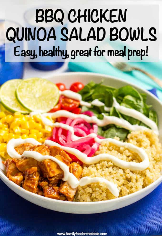 BBQ chicken quinoa salad bowls are full of flavor and fresh veggies and make for a really easy, healthy dinner! Also great as a make-ahead lunch or picnic! #bbqchicken #quinoa #grainbowls #mealprep #healthylunch