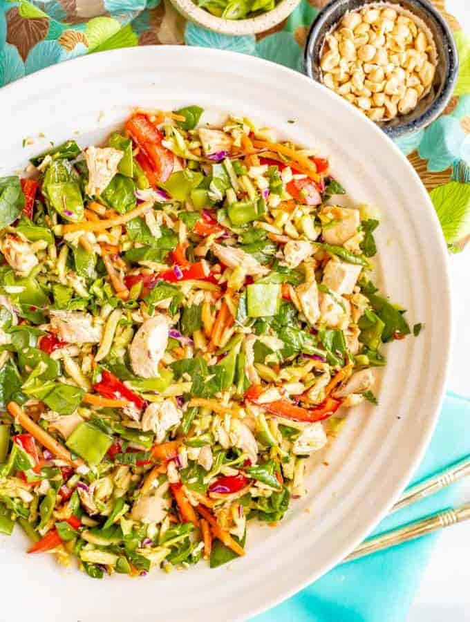 Broccoli slaw salad with chicken and soy-ginger dressing is full of fresh veggies and is crazy crunchy! It's a great salad to meal prep for a healthy lunch! #broccolislaw #salads #healthylunch