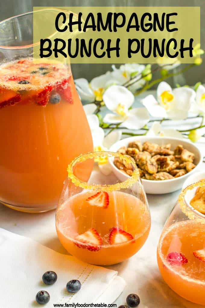 Champagne brunch punch is an easy, fruity, pretty drink recipe that's perfect for setting out at a brunch party! #champagne #punchrecipes #drinkrecipes #brunch #brunchparty
