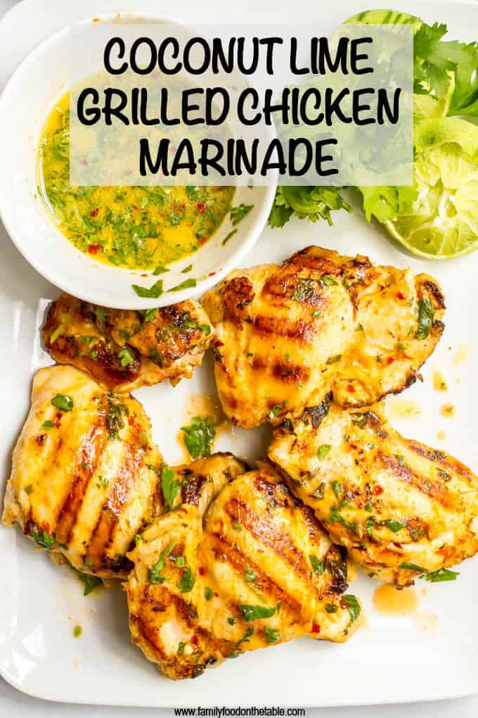 Coconut lime grilled chicken marinade is an easy way to infuse delicious flavor into your regular grilled chicken routine! #marinade #grilledchicken #grilling