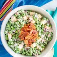Creamy pea salad with bacon
