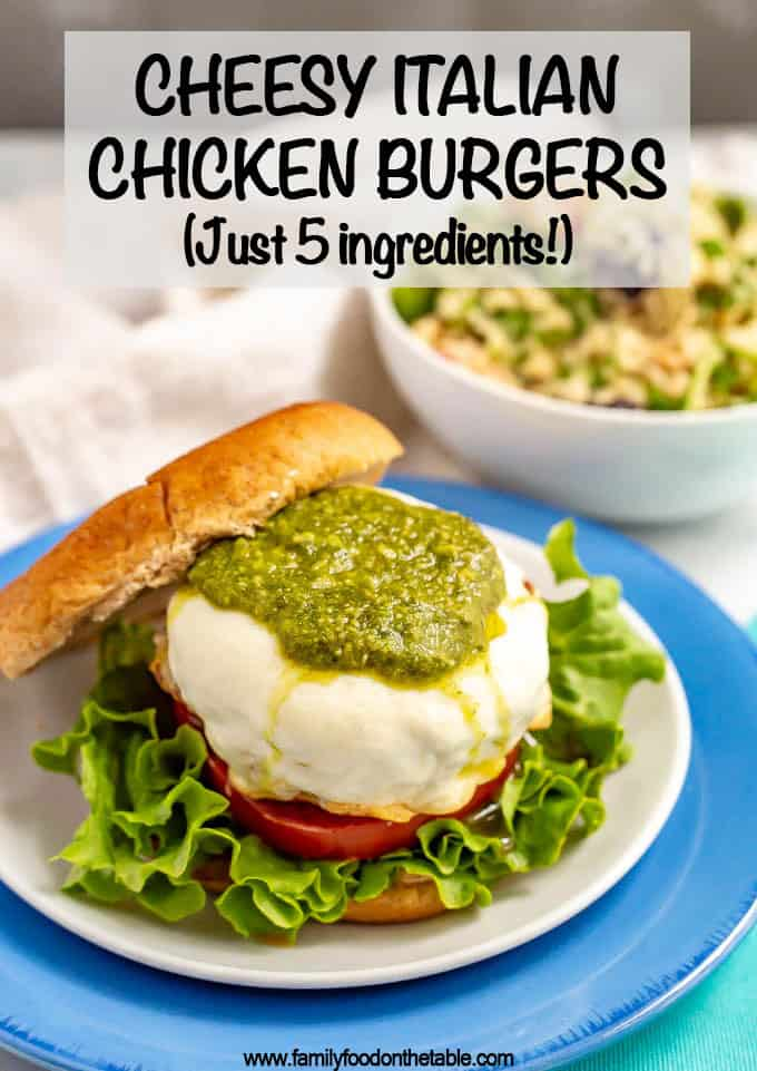 Photo and text of a pesto and mozzarella Italian chicken burger served on a bun