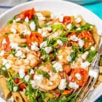 Shrimp and penne pasta