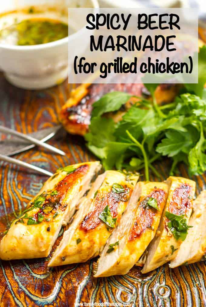 Spicy beer marinade for chicken uses a few pantry staples and spices and makes a super flavorful marinade for grilling! Great for giving a boost of flavor to grilled chicken! #marinade #chickenrecipes #grilling #grilledchicken