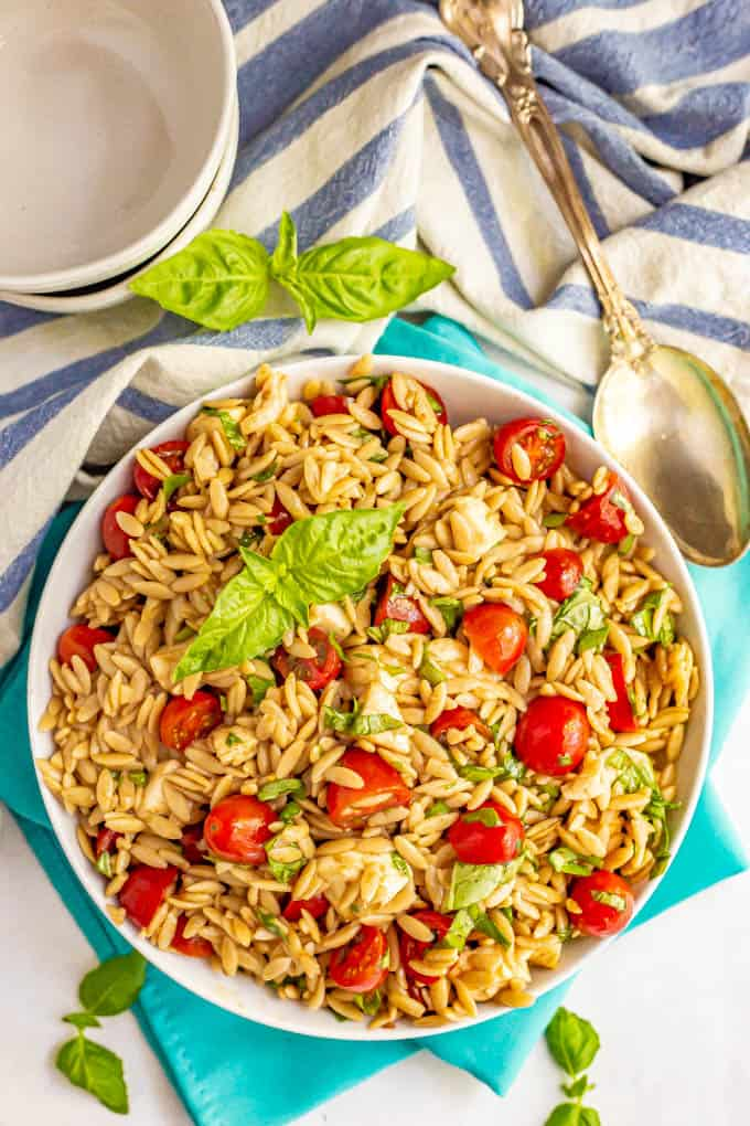 Pasta salad with tomatoes, mozzarella and fresh basil served in a white bowl