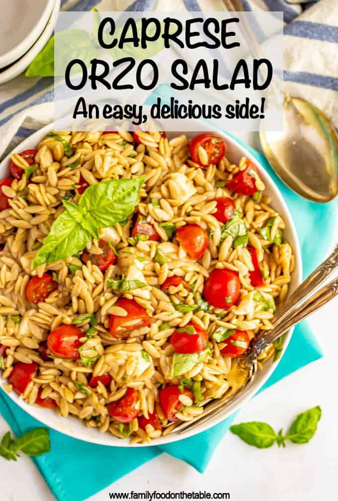 Caprese pasta salad is loaded with fresh tomatoes, soft mozzarella and sweet basil and tossed with balsamic vinaigrette for an easy, bright and delicious summer side dish!