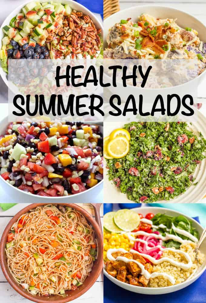 Collage of healthy summer salads, including potato salad, pasta salad, green salad, kale salad, fruit salad and chicken salad bowls