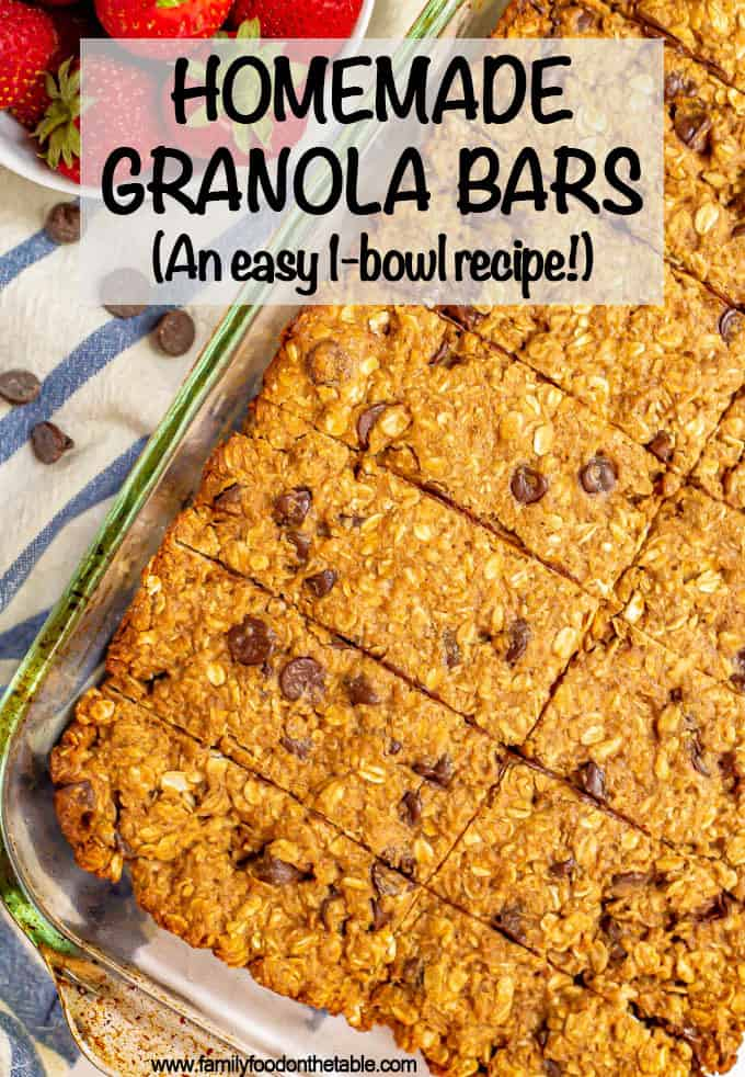 These Homemade Granola Bars with chocolate chips are thick, soft, chewy and perfect for a healthy, wholesome snack to fill you up and fuel your day. This easy 1-bowl recipe takes just 10 minutes to prep too! (Can be vegan, GF, dairy-free and peanut-free.) #granola #healthysnack #granolabars #snacktime
