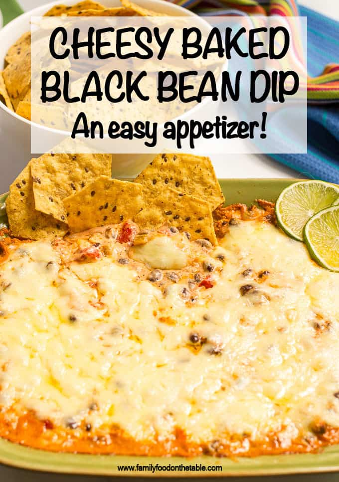 Cheesy baked black bean dip is hot and bubbly and great served with tortilla chips for an easy appetizer (or game day eats!) #blackbeans #beandip #chipsanddip #appetizer #gameday
