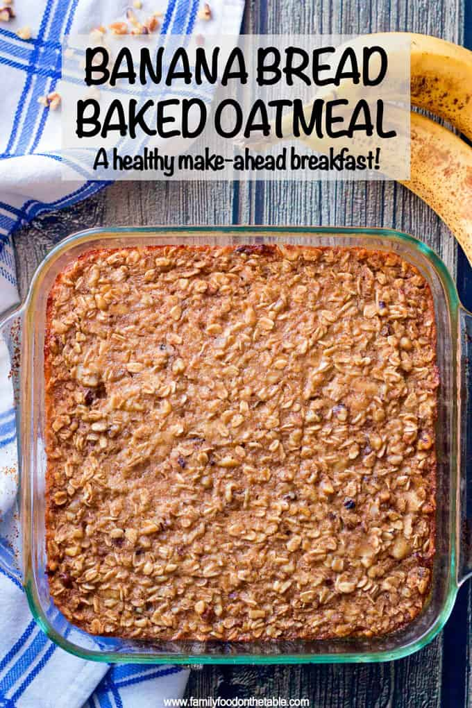 This easy banana bread baked oatmeal takes just 10 minutes to prep and has big banana and cinnamon flavors, making it perfect for a delicious healthy breakfast! Plus it's gluten-free and naturally sweetened. #bananabread #bakedoatmeal #oatmeal #breakfast #glutenfreerecipes