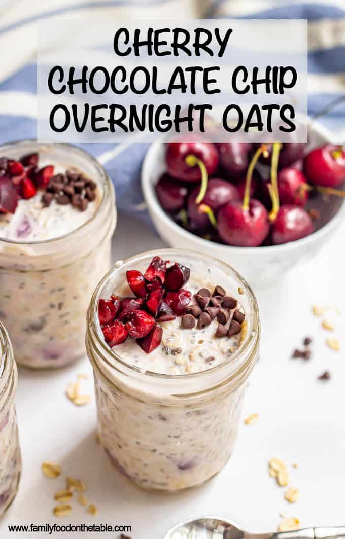 Cherry overnight oats with chocolate chips are a fresh, cold, creamy and delicious way to enjoy breakfast in the summertime! #cherries #overnightoats #oatmeal #breakfast #makeahead