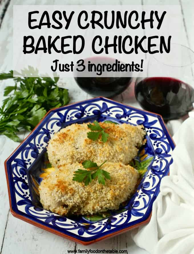 These super crunchy baked chicken breasts are made with 3 simple on-hand ingredients and no dredging station needed! They're great for a simple but flavorful dinner! #chickenrecipes #chickendinner #bakedchicken #dinnerideas