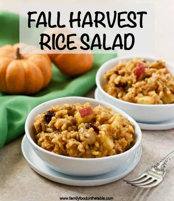 Fall harvest rice salad is sweet and savory and full of pumpkin, apples, raisins, dried cranberries and walnuts! #brownrice #fallrecipes #pumpkin #ricesalad