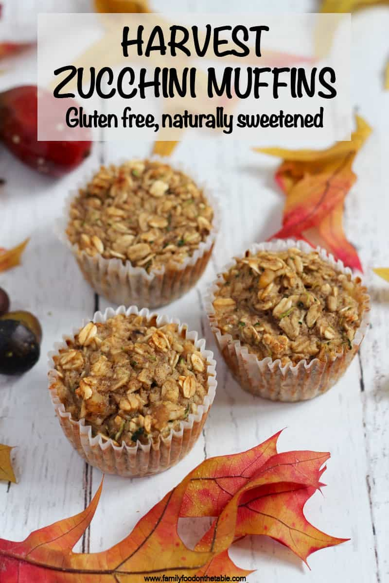 These healthy gluten-free zucchini muffins are full of goodness with oats, banana, applesauce and zucchini! #zucchini #muffins #glutenfree #schoollunch #kidfood