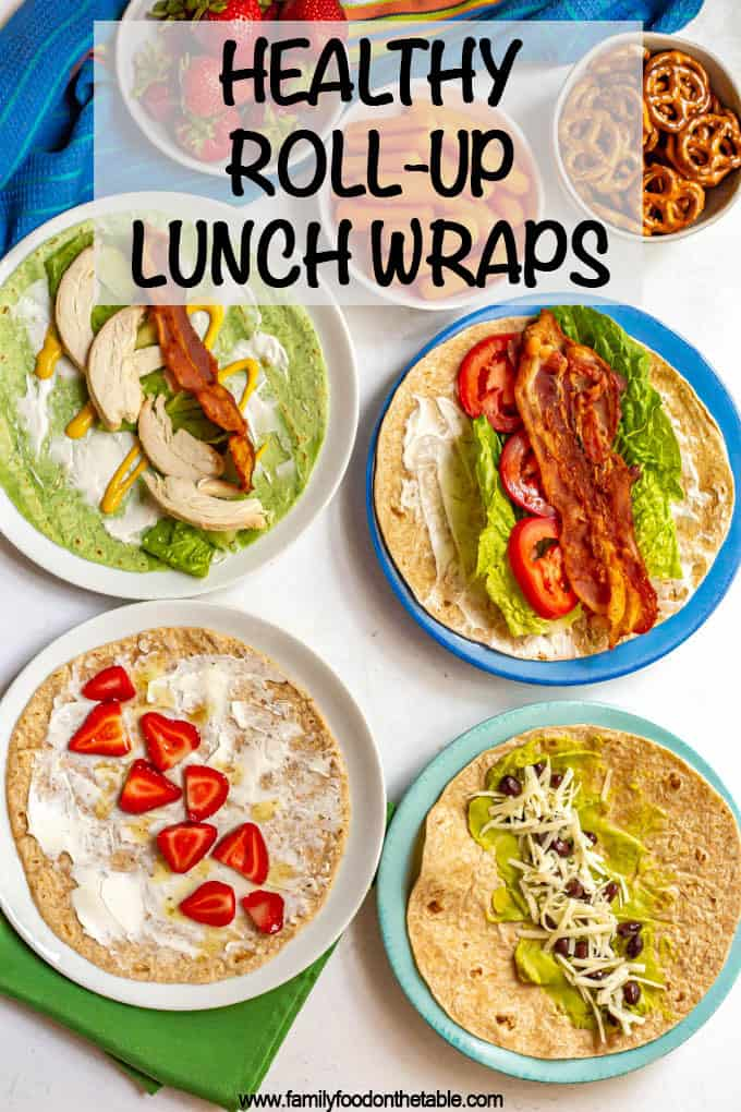 Healthy roll up lunch wraps includes tons of ideas for classic wraps, peanut butter wraps, hummus wraps and more! Great for school lunchbox ideas for the kids or to take to the office. #healthylunch #lunchideas #lunchbox #schoollunch #healthywraps #wraps