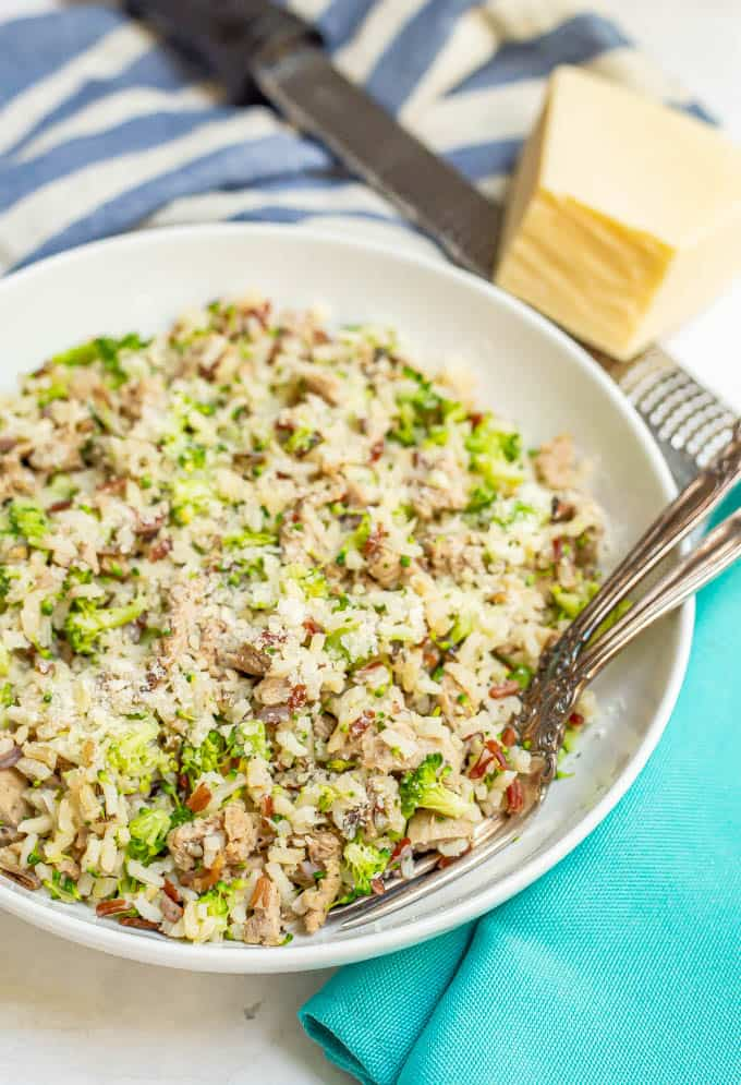 Healthy turkey sausage recipe with wild rice and broccoli and Parmesan cheese