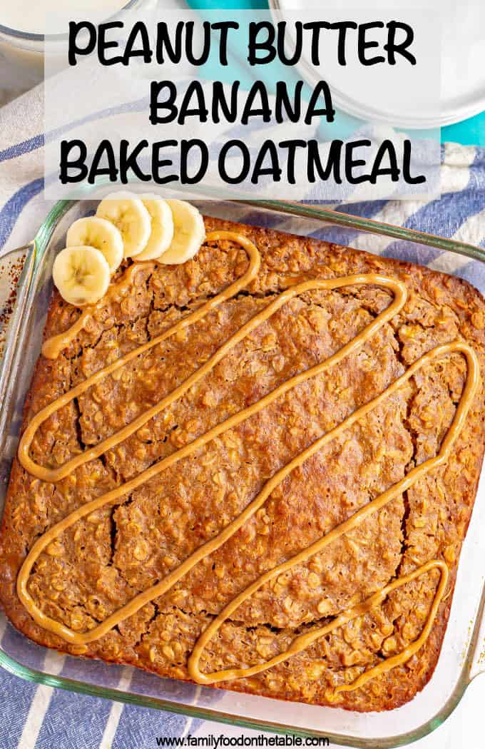 Peanut butter banana baked oatmeal is soft, perfectly sweet and loaded with peanut butter flavor! It's naturally sweetened and 100% whole grain, making it a great healthy breakfast that can be made ahead for busy mornings. #bakedoatmeal #oatmeal #breakfast #mealpreprecipes #glutenfreerecipes