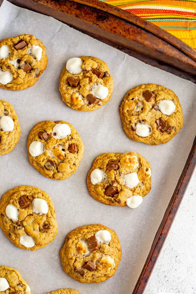 Warm baked cookies with chocolate chips and marshmallows on a baking sheet