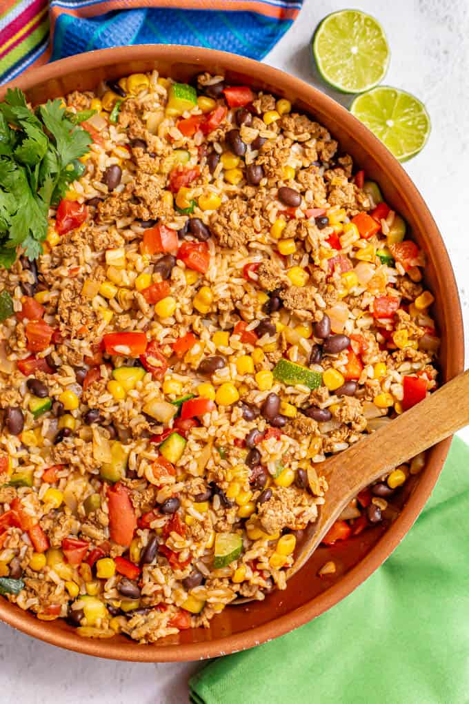 Large skillet with ground turkey, brown rice, black beans and veggies