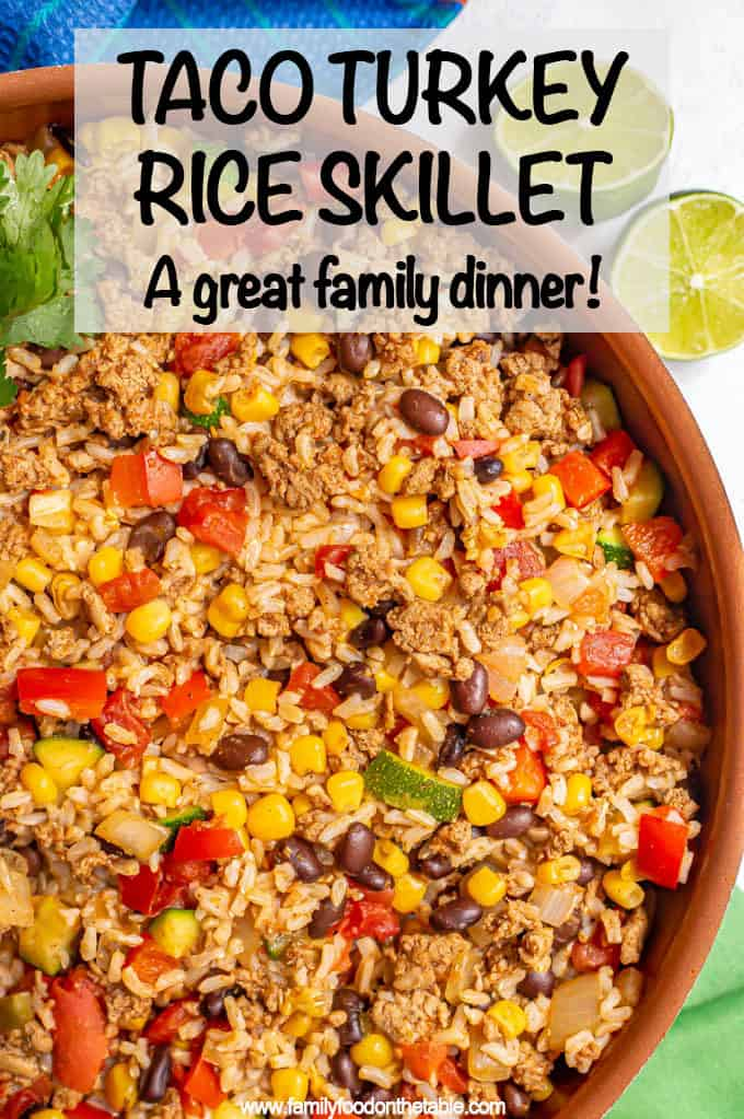 Turkey taco rice skillet is an easy 20-minute one-pot dinner with ground turkey, fluffy brown rice (or white rice) and all your favorite taco flavors! Great for a quick weeknight meal! #turkey #groundturkey #tacos #brownrice #easydinner #dinnerideas
