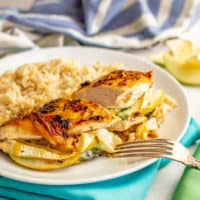 Apple and brie stuffed chicken