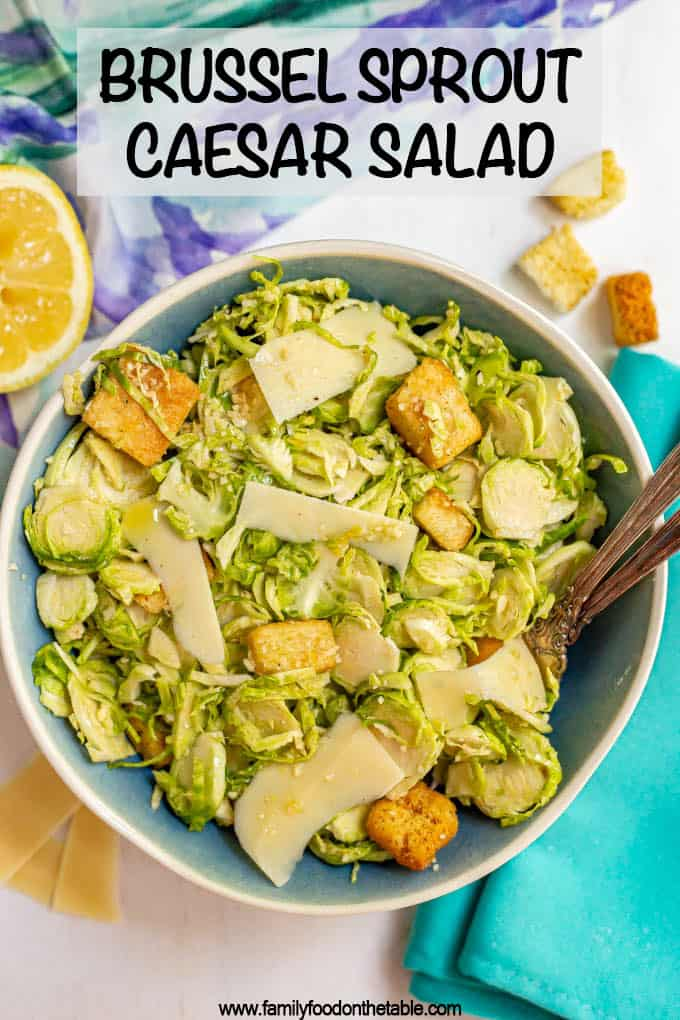 Brussel sprout Caesar salad is full of crisp, shredded Brussels sprouts, crunchy croutons and fresh Parmesan cheese and tossed with an easy homemade Caesar dressing. #caesarsalad #salads #brusselsprouts #veggies
