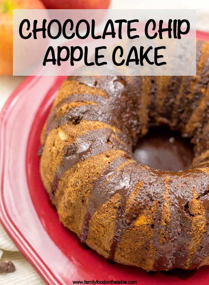 Chocolate chip apple cake is loaded with sweet apple chunks, chocolate chips and walnuts for a delicious fall dessert! #applecake #chocolatecake #cake #dessert #falldesserts