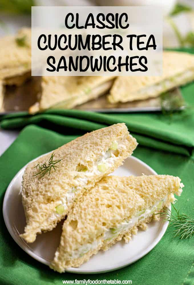 Classic cucumber tea sandwiches are easy to make, soft and creamy, and a perfect dainty little bite to serve at tea time! #teatime #teasandwiches #cucumber