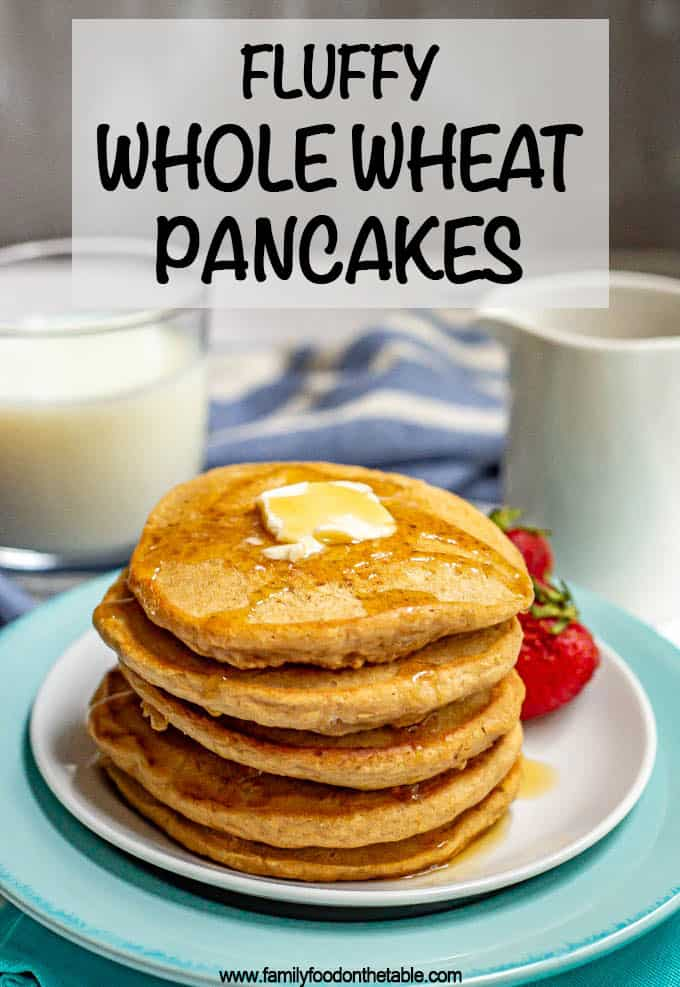 Homemade whole wheat pancakes are super simple to make — just 1 bowl and 10 minutes to prep — and come out so soft, fluffy and delicious! Extras freeze great too! #pancakes #wholewheat #breakfast #mealprep #healthybreakfast