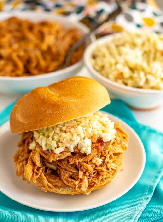 Pulled pork sandwich with coleslaw on top