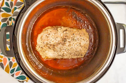 Cooked pork loin in an Instant Pot