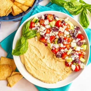 Mediterranean layered hummus dip