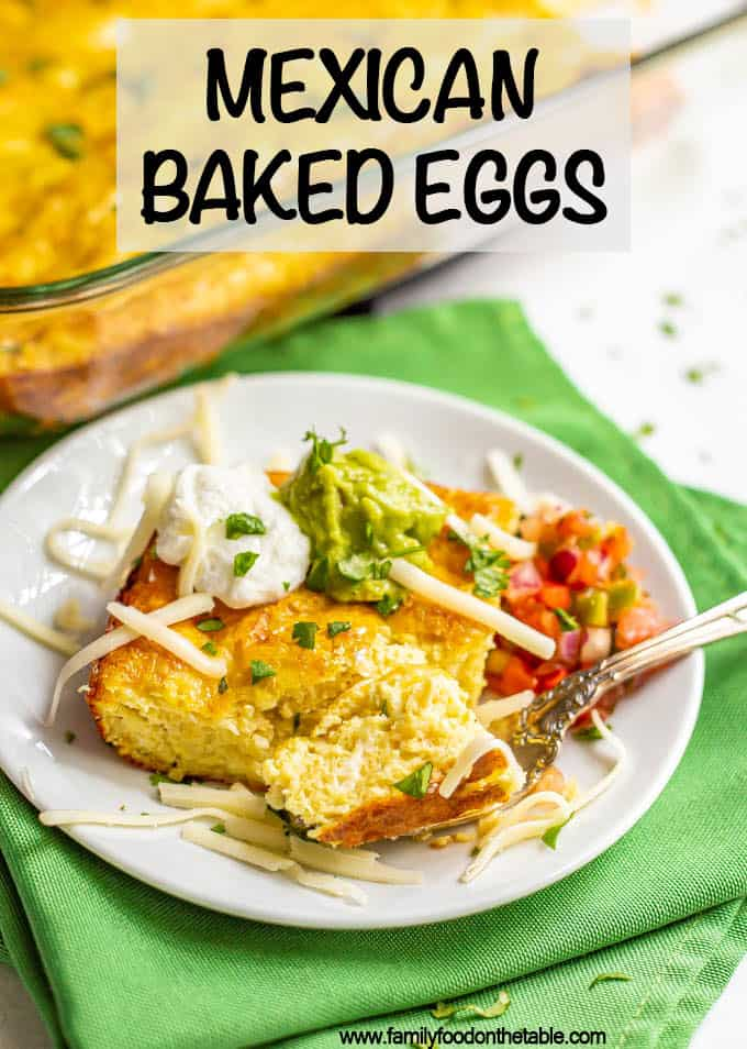 Cheesy Mexican baked eggs with green chilies are perfect for brunch and meal prep and make mornings so easy! Slice into squares and enjoy with your favorite toppings or use to make breakfast sandwiches! #eggs #bakedeggs #breakfast #brunch #mealprep