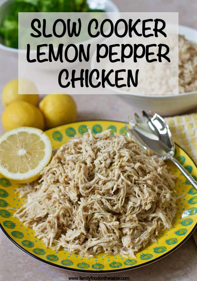 Easy slow cooker lemon pepper chicken that's quick to throw together, plus 5 ways to serve it! #slowcooker #crockpot #chickenrecipes #chickendinner
