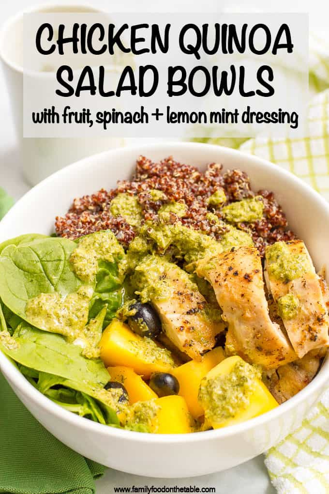 Chicken quinoa salad bowls are a quick and healthy dinner featuring chicken thighs, red quinoa, fresh fruit and a zesty lemon-mint dressing! #quinoa #chicken #saladbowl #healthyrecipes