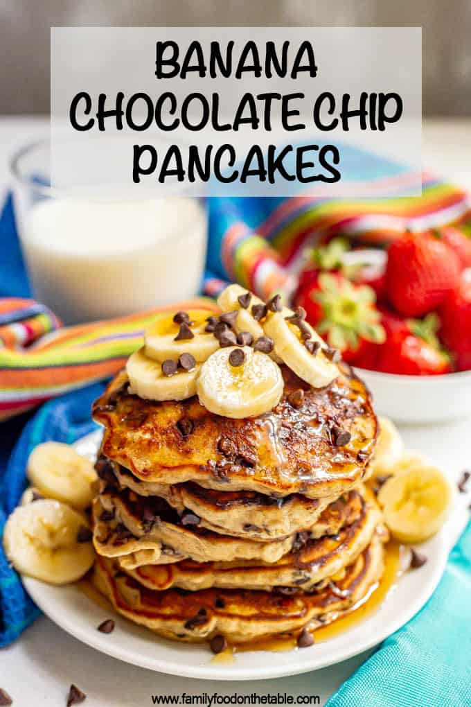 Banana chocolate chip pancakes are light, incredibly fluffy and studded with melty chocolate chips! They only take 10 minutes to mix up and are such a delicious breakfast! #pancakes #ripebananas #bananapancakes #breakfastideas #breakfast
