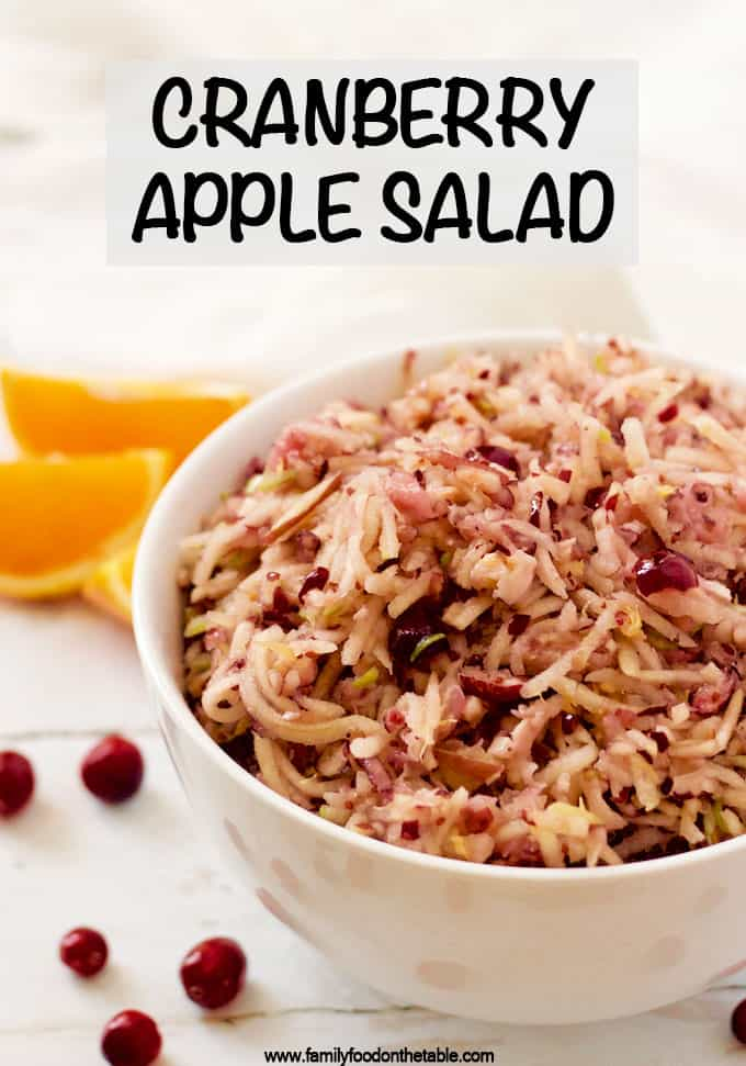 Cranberry apple salad is a bright, fresh fruit salad perfect for brunch or as a side dish. It's great for the holidays! #cranberries #Thanksgivingfood #holidayfood #brunchfood #Christmasmorning #brunchrecipes