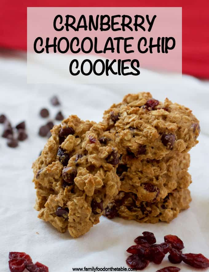 Cranberry chocolate chip cookies are easy to make, whole grain and naturally sweetened! Perfect for a new delicious holiday or Christmas cookie! #cookies #cranberry #holidayfood #holidayrecipes #Christmascookies