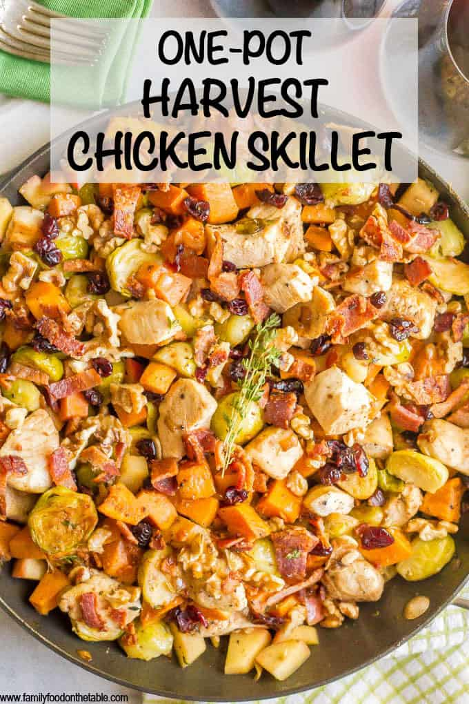 One-pot easy harvest chicken skillet with sweet potatoes and Brussels sprouts is a beautiful and delicious recipe that's perfect for a fall dinner! #onepot #chicken #easydinner #chickendinner #chickenrecipes