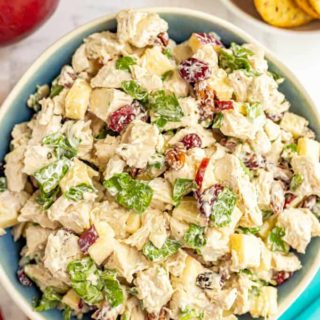 A serving bowl full of harvest chicken salad with apples, pecans, dried cranberries and spinach